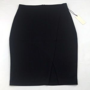 Black pencil skirt with front overlay slit